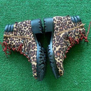 Leopard Print Combat Boots  Combat Boots   Boots 